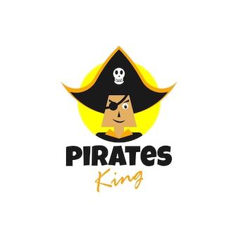 Koncepcja logo ilustracja głowy pirata z uroczym i minimalistycznym stylem