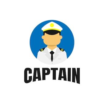Koncepcja logo ilustracji marynarza z prostym i minimalistycznym stylem