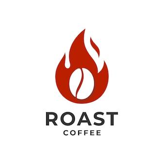 Koncepcja logo kawy i płomienia