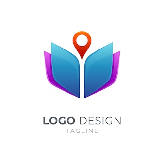 Koncepcja logo książki i pin