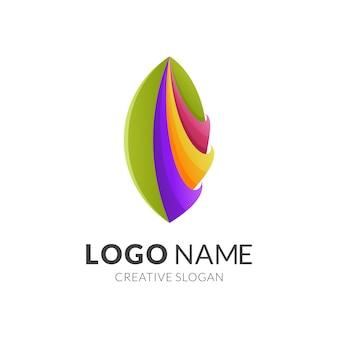 Koncepcja logo liścia, nowoczesny styl logo 3d w żywych kolorach gradientu