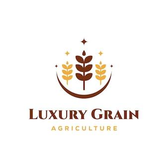 Koncepcja logo luksusowego ziarna pszenicy, ikona wektor logo szablon rolnictwa pszenicy