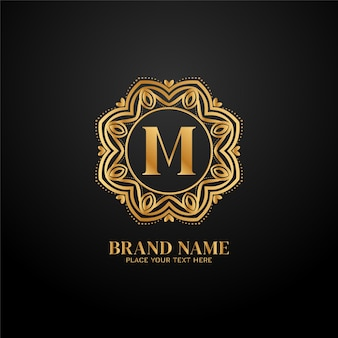 Koncepcja logo luksusowej marki litera m.