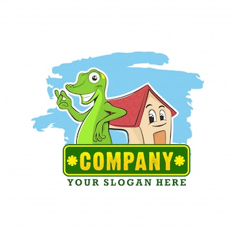 Koncepcja logo maskotka gecko dla nieruchomości