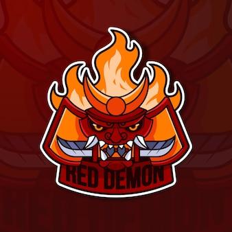 Koncepcja logo maskotka z czerwonym demonem