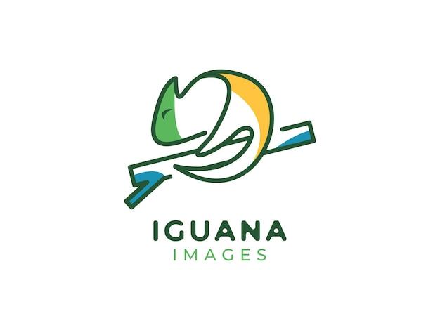 Koncepcja logo mono-linia iguany