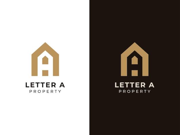 Koncepcja logo nieruchomości list a ilustracje