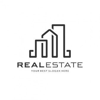 Koncepcja logo nieruchomości ze stylem sztuki linii.