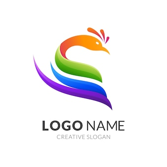 Koncepcja logo pawia, nowoczesny styl logo w żywych kolorach gradientu