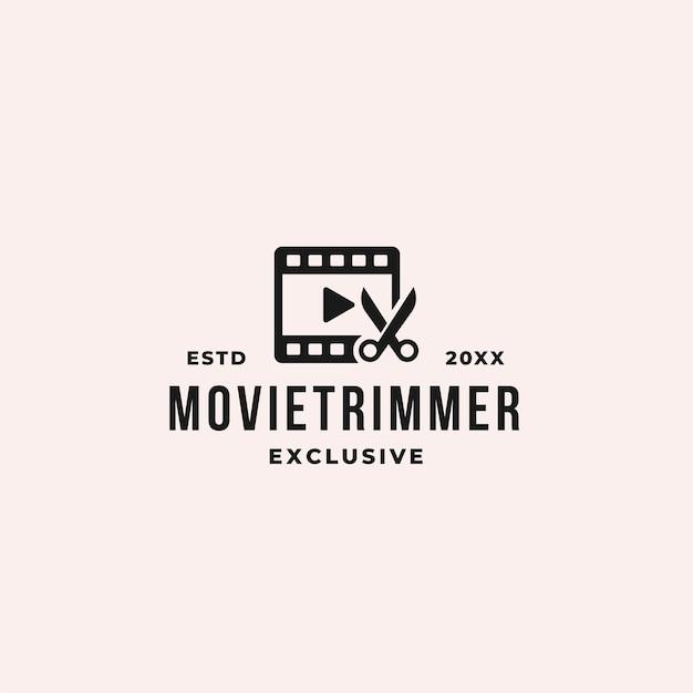 Koncepcja logo przycinania i wycinania filmu z taśmami filmowymi i nożyczkami do montażu i producenta
