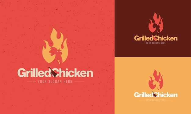 Koncepcja logo restauracji z grillowanym kurczakiem