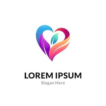 Koncepcja logo serca lub miłości z kombinacją liści