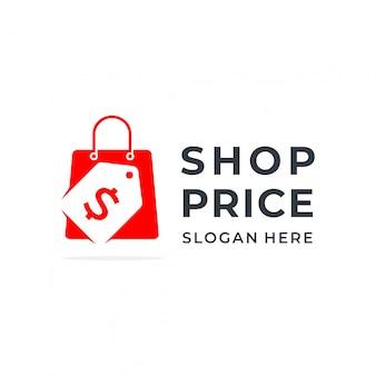 Koncepcja logo sklepu z negatywnym stylem przestrzeni i elementem etykiety cenowej.