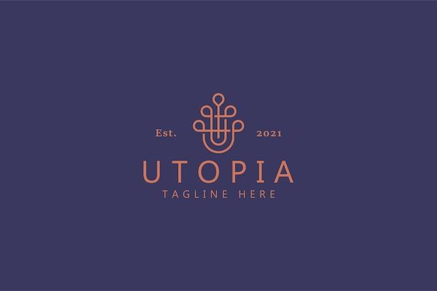 Koncepcja logo streszczenie prosta linia. ozdoba z początkową literą u utopia.