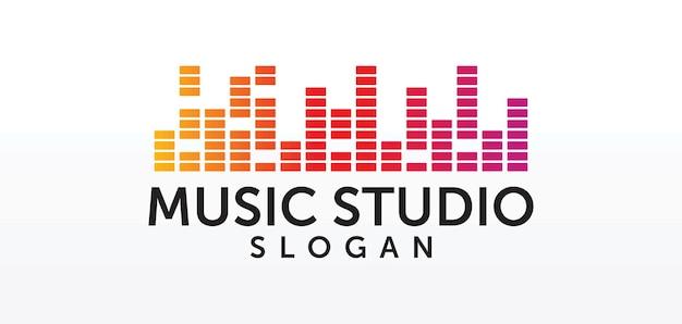 Koncepcja logo studia dźwiękowego, godło usługi muzycznej, korektor, muzyka, logo systemu audio, etykieta fal dźwiękowych nowoczesny prosty elegancki design na białym tle obraz