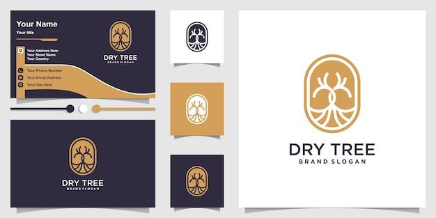 Koncepcja logo suchego drzewa z nowoczesnym stylem i projektem wizytówek premium wektorów