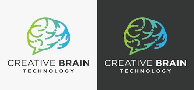 Koncepcja logo technologii mózgu logo mózgu z cyfrowym zestawem danych koncepcji sztucznej inteligencji