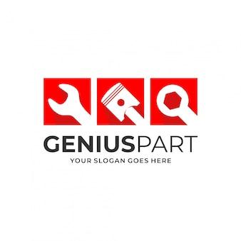 Koncepcja logo tłoka i klucza dla firmy motoryzacyjnej.