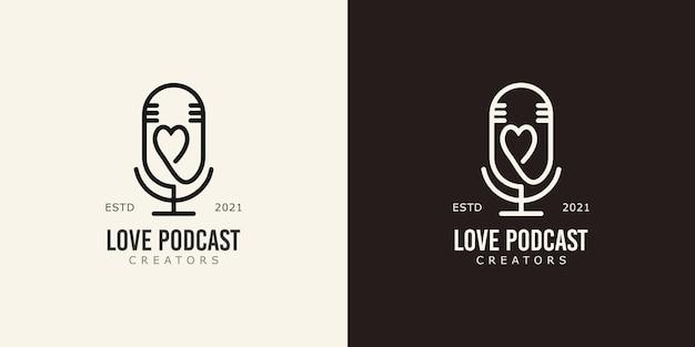 Koncepcja logo twórców treści podcastów ilustracje wektorowe mikrofonu