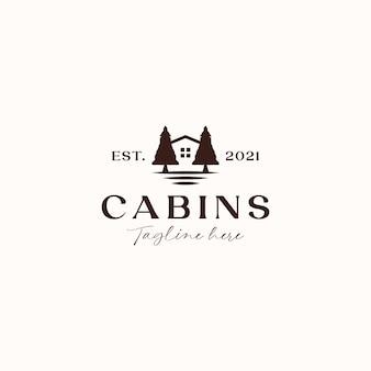Koncepcja logo vintage cabin na białym tle w tle