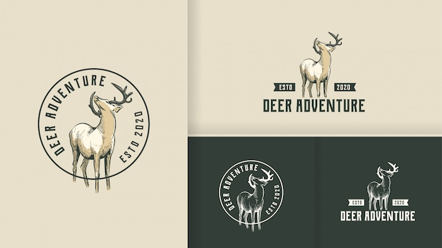 Koncepcja logo vintage deer adventure
