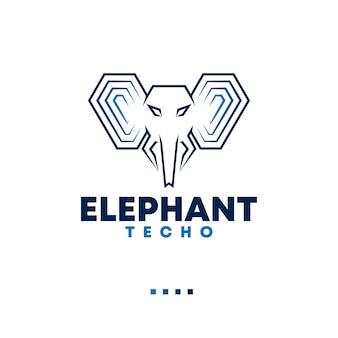 Koncepcja logo z ilustracją słonia nadaje się do technologii korporacyjnej i innych