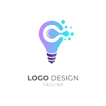 Koncepcja logo żarówki i litera c.