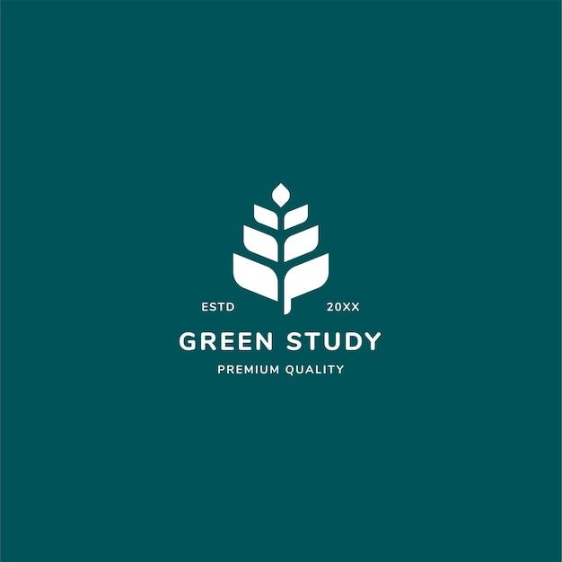 Koncepcja logo zielonego badania z liściem i minimalistycznym stylem.