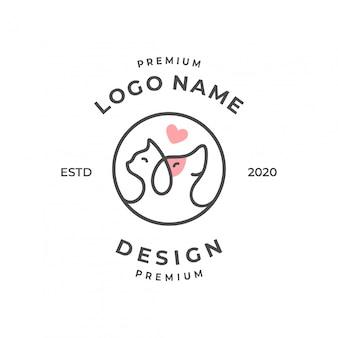 Koncepcja logo zwierzaka ze stylem sztuki linii.
