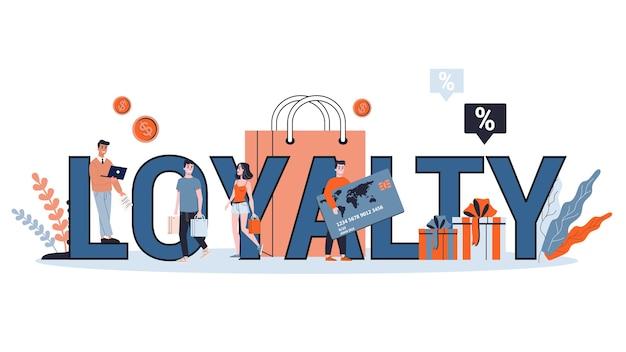 Koncepcja lojalności i utrzymania klienta. idea komunikacji i relacji z klientami. ilustracja