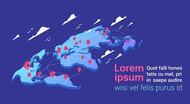 Koncepcja lokalizacji z mapą świata