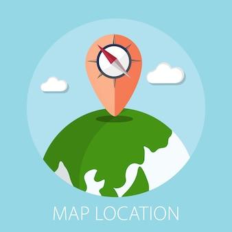 Koncepcja lokalizacji z pinezką mapy