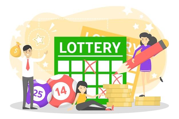 Koncepcja loterii. hazard i bingo. grać w grę