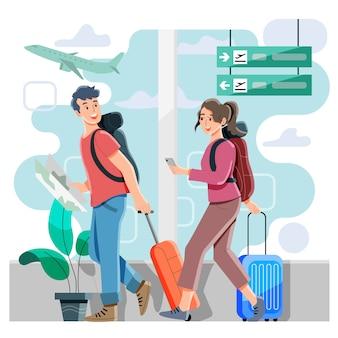 Koncepcja lotniska. wejście na pokład lub odlot. podróżowanie na wakacje. mieszkanie. wektor i ilustracja