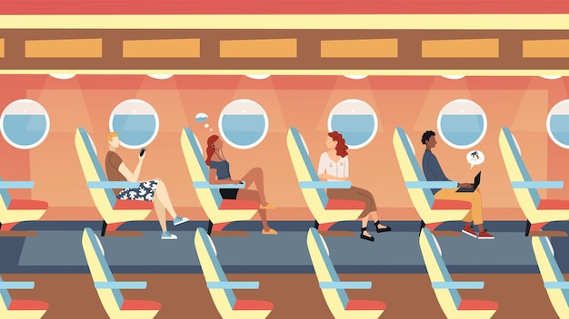 Koncepcja lotów międzynarodowych pasażerów. postacie męskie i żeńskie siedzą w samolocie i lecą na wakacje. nowoczesne wnętrze samolotu samolotu z ludźmi. płaski styl kreskówki. ilustracji wektorowych.