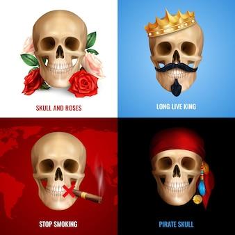 Koncepcja ludzkiej czaszki 2x2 z zestawem realistycznych kompozycji wykorzystujących wizerunek czaszki jako znaku niebezpieczeństwa lub humoru