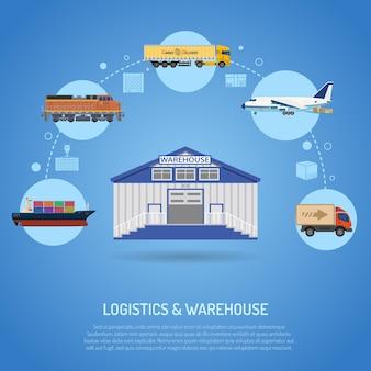 Koncepcja magazynu i logistyki z płaskimi ikonami dla marketingu i reklamy z magazynowaniem, dostawą, ciężarówką, cysterną i ładunkiem lotniczym. ilustracja wektorowa