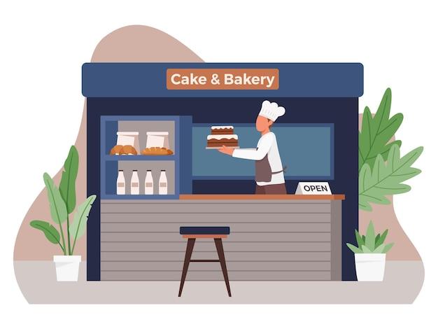 Koncepcja małej firmy i samozatrudnienia z męskim szefem kuchni co ciasta