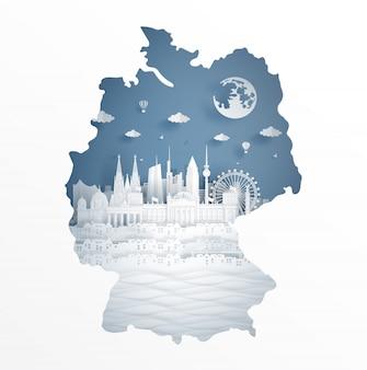 Koncepcja mapa niemcy z sławny punkt orientacyjny pocztówka podróżna i plakat