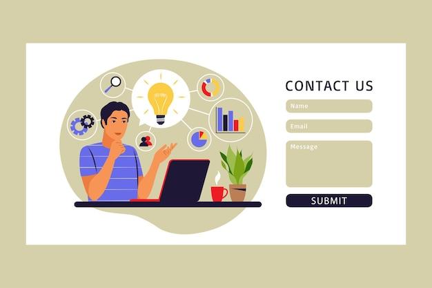 Koncepcja mapy myśli. generowanie pomysłów na biznes. formularz kontaktowy. ilustracja wektorowa. mieszkanie.