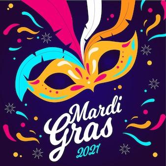Koncepcja mardi gras w płaskiej konstrukcji