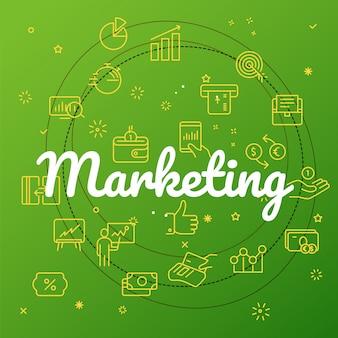 Koncepcja marketingowa. dołączono różne ikony cienkich linii