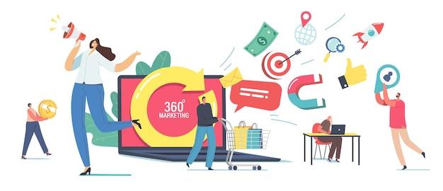 Koncepcja marketingu 360 stopni. małe postacie męskie i żeńskie w ogromnym laptopie z obracającą się strzałką. manager przyciągaj klienci używają krzyku reklamowego do megafonu, zakupów ludzi. ilustracja kreskówka wektor
