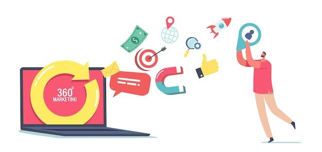 Koncepcja marketingu 360 stopni. mały męski charakter w ogromnym laptopie z obracaniem strzałki i ikony mediów wylatujące z ekranu. zarządzanie internetem, handel elektroniką. ilustracja kreskówka wektor