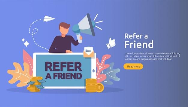 Koncepcja marketingu afiliacyjnego. poleć strategię przyjaciela. ludzie krzyczą megafon dzieląc się poleconymi partnerstwami biznesowymi i zarabiaj pieniądze.