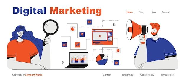 Koncepcja marketingu cyfrowego ilustracja wektorowa koncepcji pracy zespołowej firmy i projektowania start-up ...