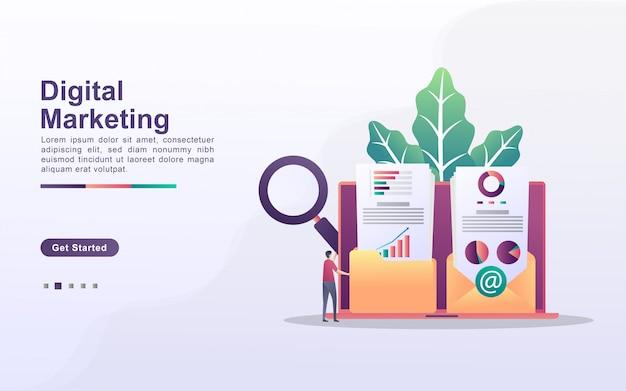 Koncepcja marketingu cyfrowego. ludzie zapisują i udostępniają treści marketingowe do wiadomości e-mail klientów. analizuj i identyfikuj wyniki marketingowe.