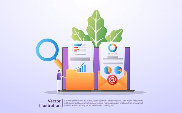 Koncepcja marketingu cyfrowego. ludzie zapisują i udostępniają treści marketingowe do wiadomości e-mail klientów.