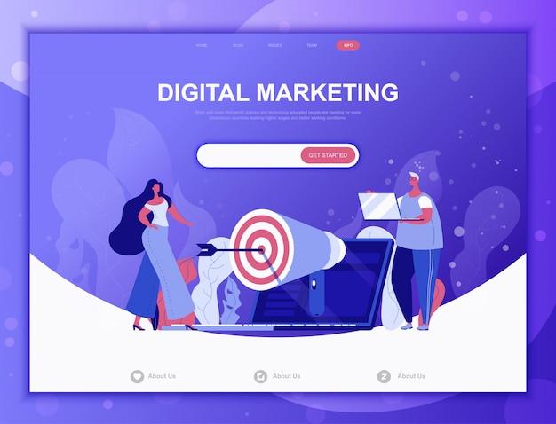 Koncepcja marketingu cyfrowego płaski, szablon strony docelowej strony internetowej
