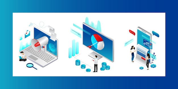 Koncepcja marketingu cyfrowego. postacie poszukujące trendów, strategii i możliwości promocji produktów. mężczyźni i kobiety osiągają cele biznesowe w reklamach w mediach społecznościowych.